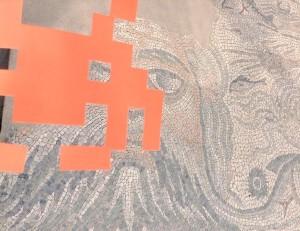 Particolare del mosaico di Oceano, area archeologica di Luni